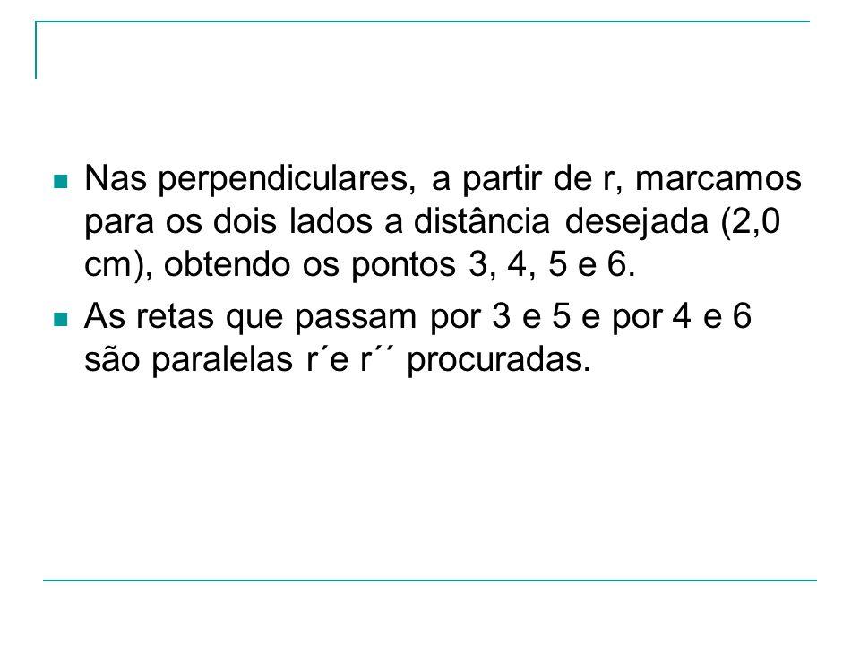 Nas perpendiculares, a partir de r, marcamos para os dois lados a distância desejada (2,0 cm), obtendo os pontos 3, 4, 5 e 6. As retas que passam por