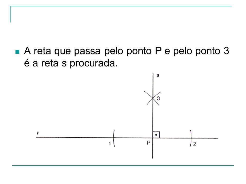 A reta que passa pelo ponto P e pelo ponto 3 é a reta s procurada.