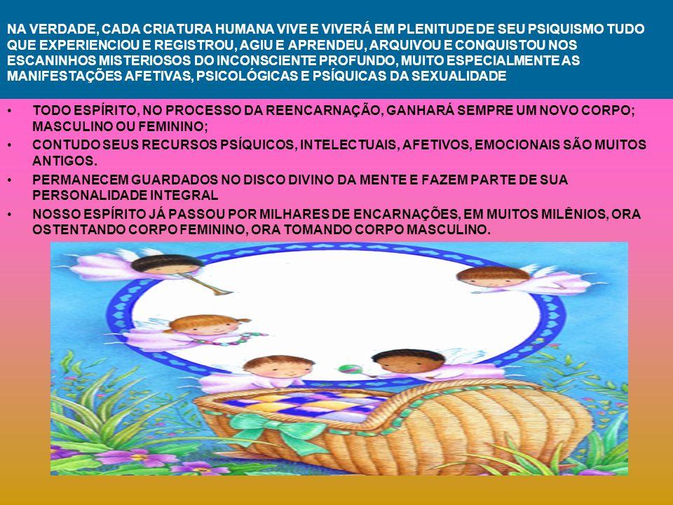 NA VERDADE, CADA CRIATURA HUMANA VIVE E VIVERÁ EM PLENITUDE DE SEU PSIQUISMO TUDO QUE EXPERIENCIOU E REGISTROU, AGIU E APRENDEU, ARQUIVOU E CONQUISTOU NOS ESCANINHOS MISTERIOSOS DO INCONSCIENTE PROFUNDO, MUITO ESPECIALMENTE AS MANIFESTAÇÕES AFETIVAS, PSICOLÓGICAS E PSÍQUICAS DA SEXUALIDADE TODO ESPÍRITO, NO PROCESSO DA REENCARNAÇÃO, GANHARÁ SEMPRE UM NOVO CORPO; MASCULINO OU FEMININO; CONTUDO SEUS RECURSOS PSÍQUICOS, INTELECTUAIS, AFETIVOS, EMOCIONAIS SÃO MUITOS ANTIGOS.