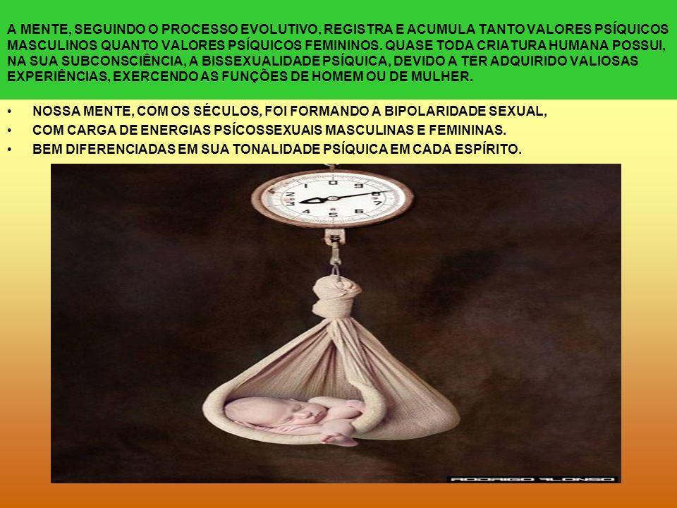 A MENTE, SEGUINDO O PROCESSO EVOLUTIVO, REGISTRA E ACUMULA TANTO VALORES PSÍQUICOS MASCULINOS QUANTO VALORES PSÍQUICOS FEMININOS.