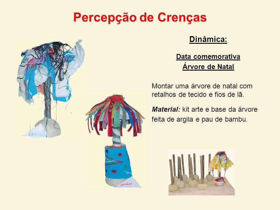 Percepção de Crenças Dinâmica: Data comemorativa Árvore de Natal Montar uma árvore de natal com retalhos de tecido e fios de lã. Material: kit arte e