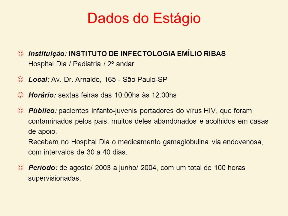 Dados do Estágio Instituição: INSTITUTO DE INFECTOLOGIA EMÍLIO RIBAS Hospital Dia / Pediatria / 2º andar Local: Av. Dr. Arnaldo, 165 - São Paulo-SP Ho