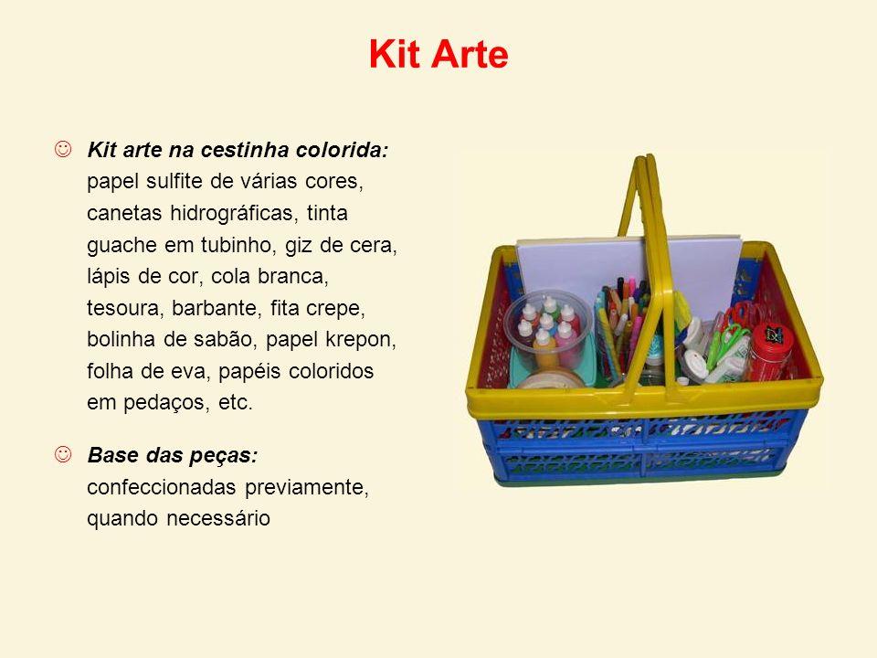 Kit Arte Kit arte na cestinha colorida: papel sulfite de várias cores, canetas hidrográficas, tinta guache em tubinho, giz de cera, lápis de cor, cola
