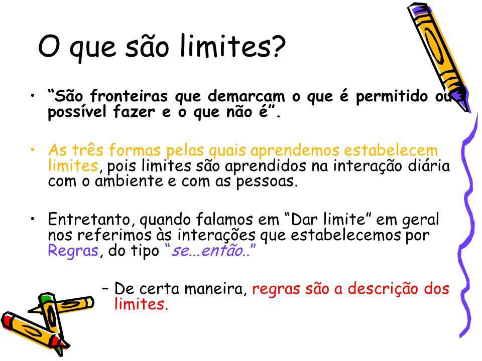 O que são limites? São fronteiras que demarcam o que é permitido ou possível fazer e o que não é. As três formas pelas quais aprendemos estabelecem li