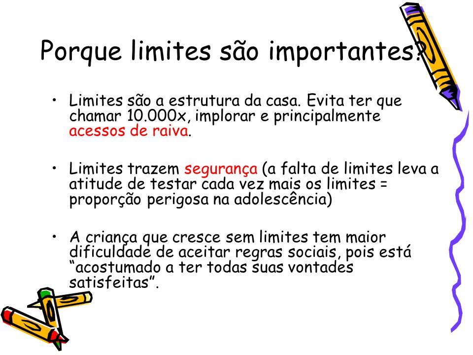 Porque limites são importantes? Limites são a estrutura da casa. Evita ter que chamar 10.000x, implorar e principalmente acessos de raiva. Limites tra