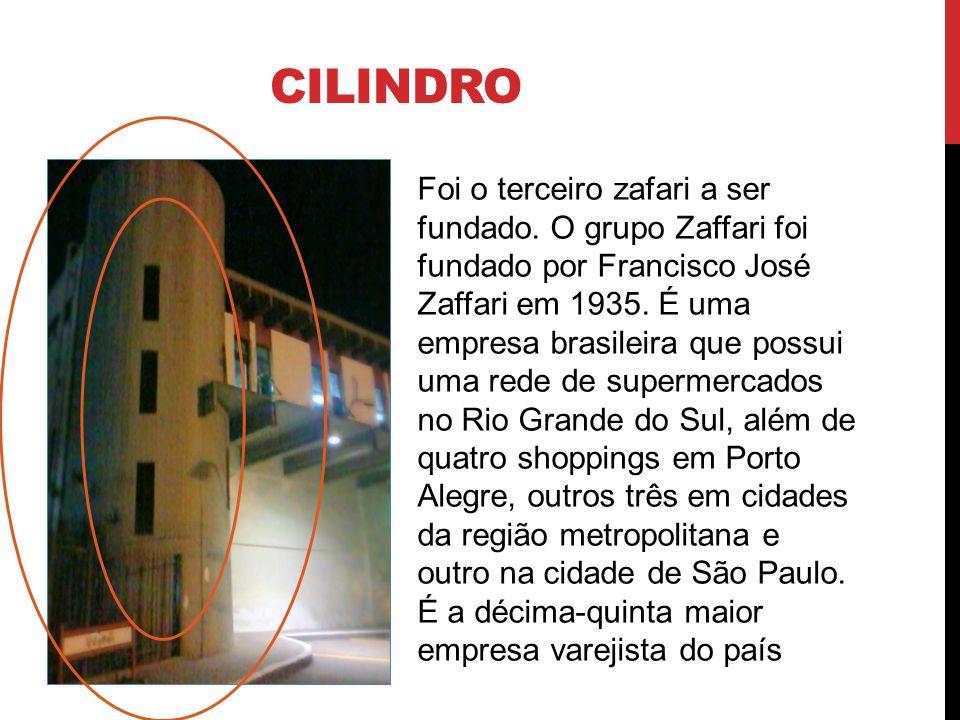 CILINDRO Foi o terceiro zafari a ser fundado. O grupo Zaffari foi fundado por Francisco José Zaffari em 1935. É uma empresa brasileira que possui uma