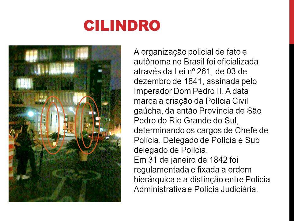 CILINDRO A organização policial de fato e autônoma no Brasil foi oficializada através da Lei nº 261, de 03 de dezembro de 1841, assinada pelo Imperado