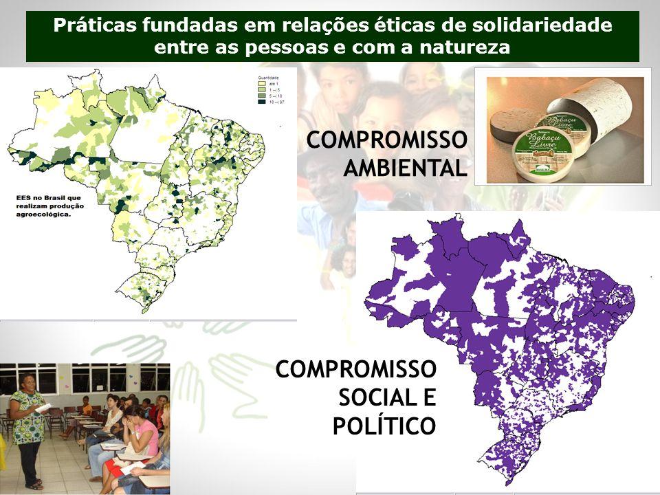 COMPROMISSO AMBIENTAL COMPROMISSO SOCIAL E POLÍTICO Práticas fundadas em relações éticas de solidariedade entre as pessoas e com a natureza