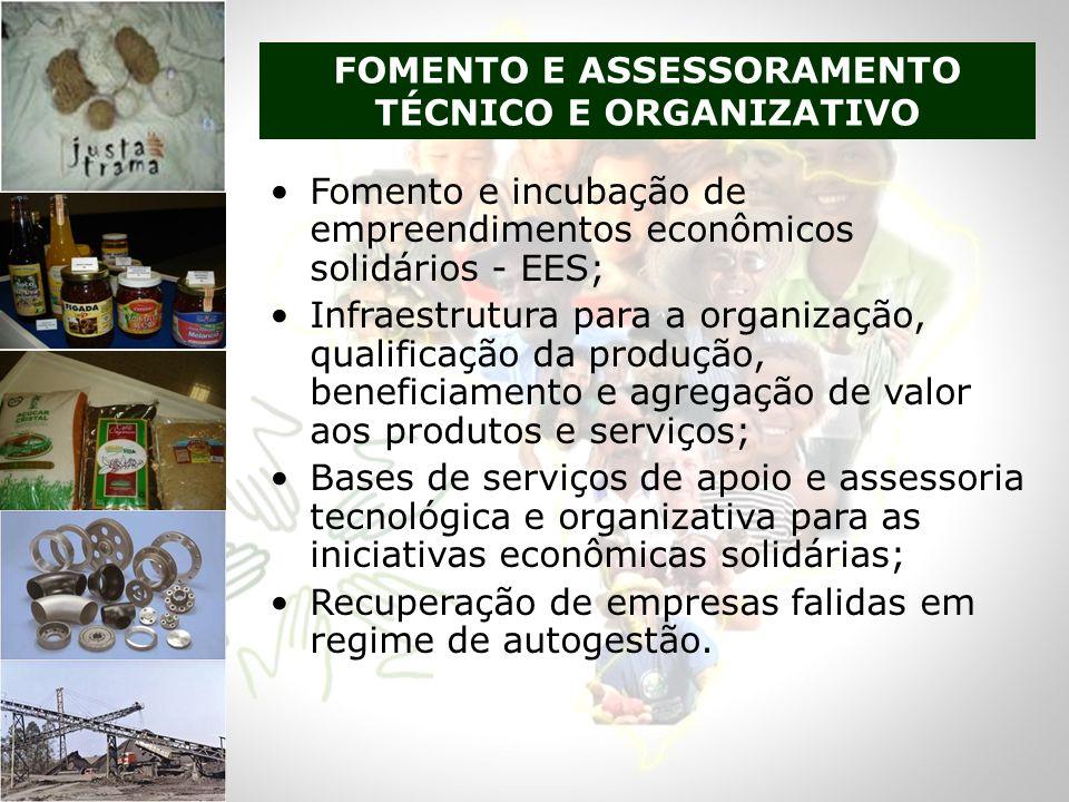Fomento e incubação de empreendimentos econômicos solidários - EES; Infraestrutura para a organização, qualificação da produção, beneficiamento e agre