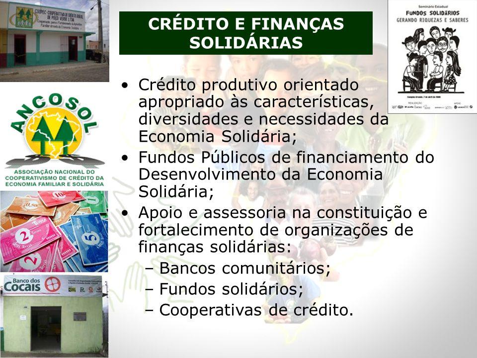 Crédito produtivo orientado e apropriado às características, diversidades e necessidades da Economia Solidária; Fundos Públicos de financiamento do De