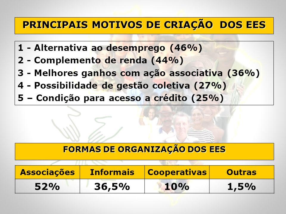 1 - Alternativa ao desemprego (46%) 2 - Complemento de renda (44%) 3 - Melhores ganhos com ação associativa (36%) 4 - Possibilidade de gestão coletiva (27%) 5 – Condição para acesso a crédito (25%) PRINCIPAIS MOTIVOS DE CRIAÇÃO DOS EES FORMAS DE ORGANIZAÇÃO DOS EES AssociaçõesInformaisCooperativasOutras 52%36,5%10%1,5%