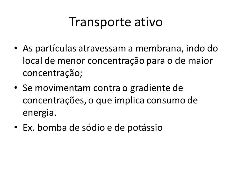 Transporte ativo As partículas atravessam a membrana, indo do local de menor concentração para o de maior concentração; Se movimentam contra o gradien