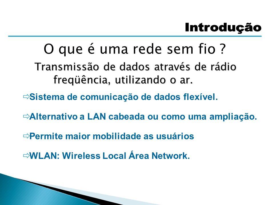 Redes Wireless com ou sem Access Point Determina se é Ad-Hoc ou Infra-estrutura Topología Ad-Hoc Identificador único para cada Uma das comunicações simultâneas Infra-estrutura O Access Point cria as comunicações para conectar outros Hosts wireless dentro de sua área de cobertura.