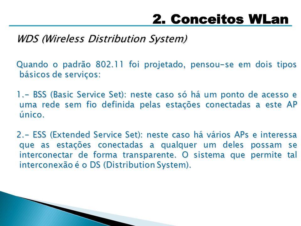 WDS (Wireless Distribution System) Quando o padrão 802.11 foi projetado, pensou-se em dois tipos básicos de serviços: 1.- BSS (Basic Service Set): nes