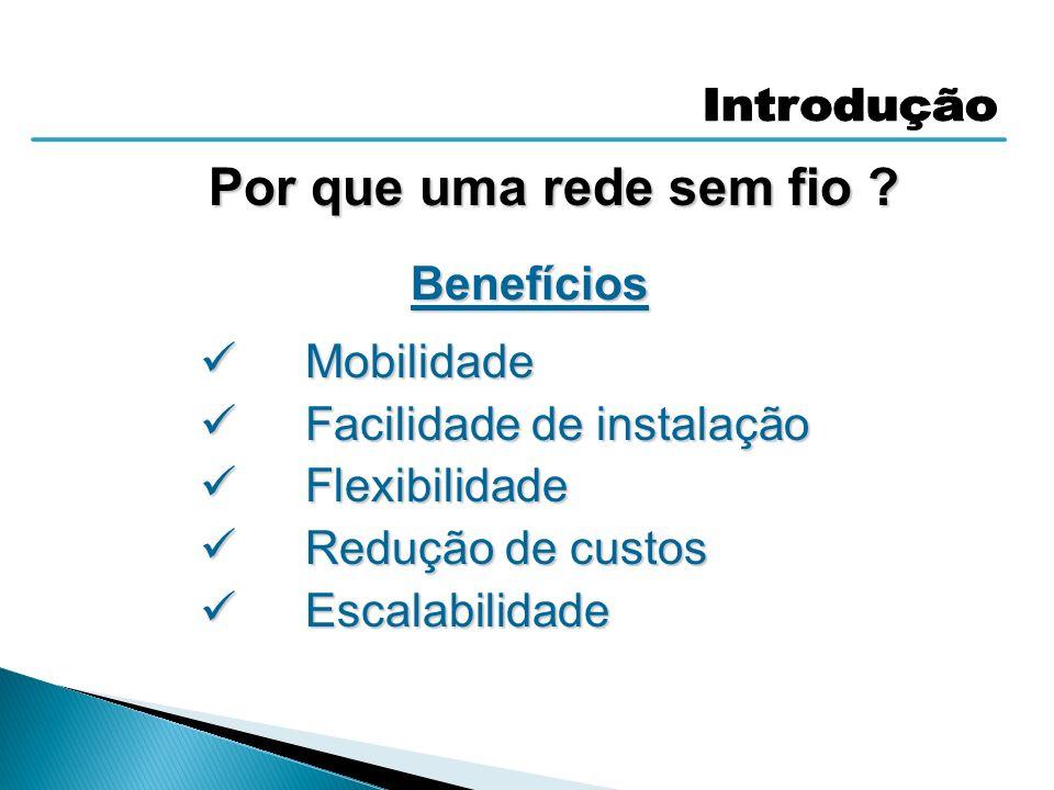 Por que uma rede sem fio ? Benefícios Mobilidade Mobilidade Facilidade de instalação Facilidade de instalação Flexibilidade Flexibilidade Redução de c