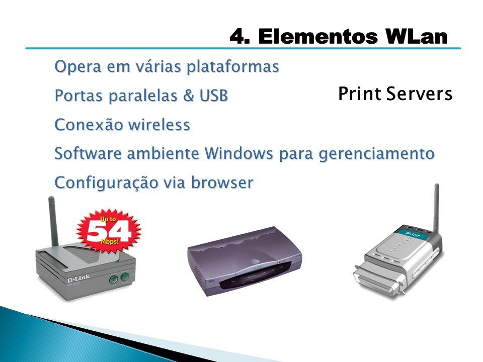 Print Servers Opera em várias plataformas Portas paralelas & USB Conexão wireless Software ambiente Windows para gerenciamento Configuração via browse