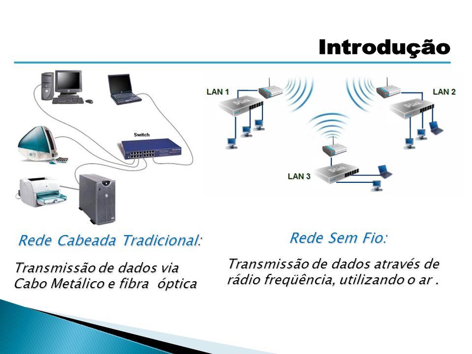 Rede Cabeada Tradicional: Transmissão de dados via Cabo Metálico e fibra óptica Rede Sem Fio: Transmissão de dados através de rádio freqüência, utiliz