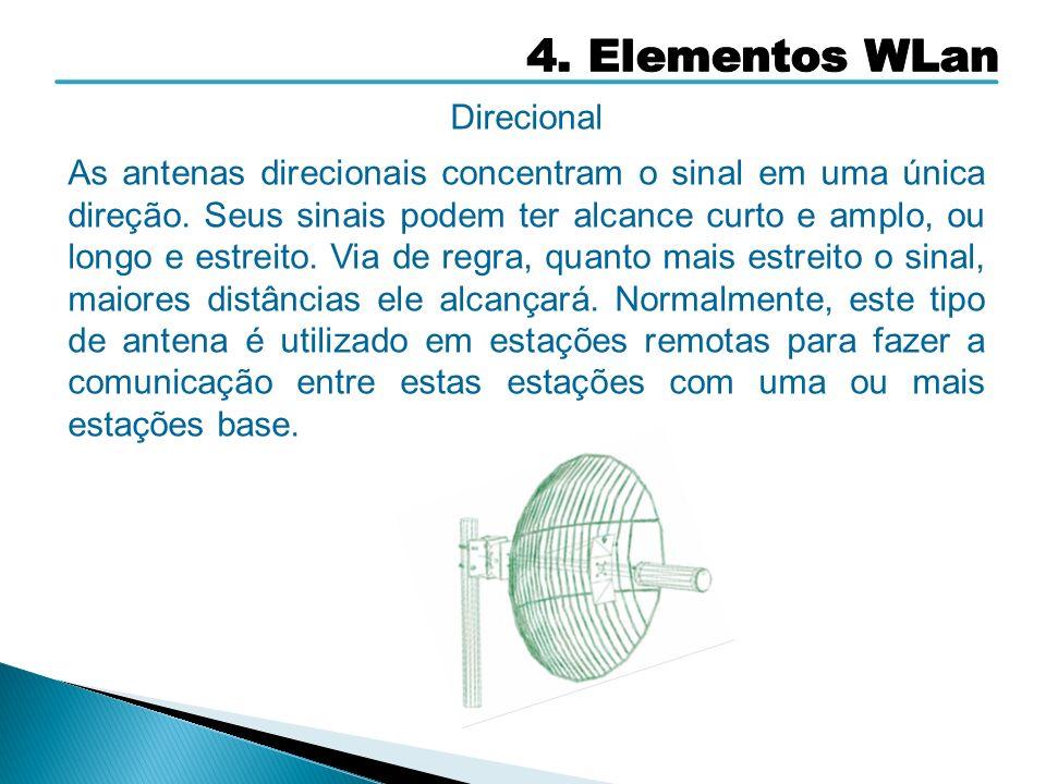 Direcional As antenas direcionais concentram o sinal em uma única direção. Seus sinais podem ter alcance curto e amplo, ou longo e estreito. Via de re