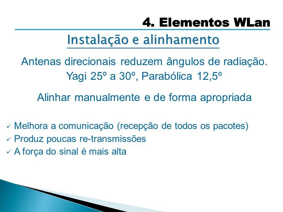 Antenas direcionais reduzem ângulos de radiação. Yagi 25º a 30º, Parabólica 12,5º Alinhar manualmente e de forma apropriada Melhora a comunicação (rec