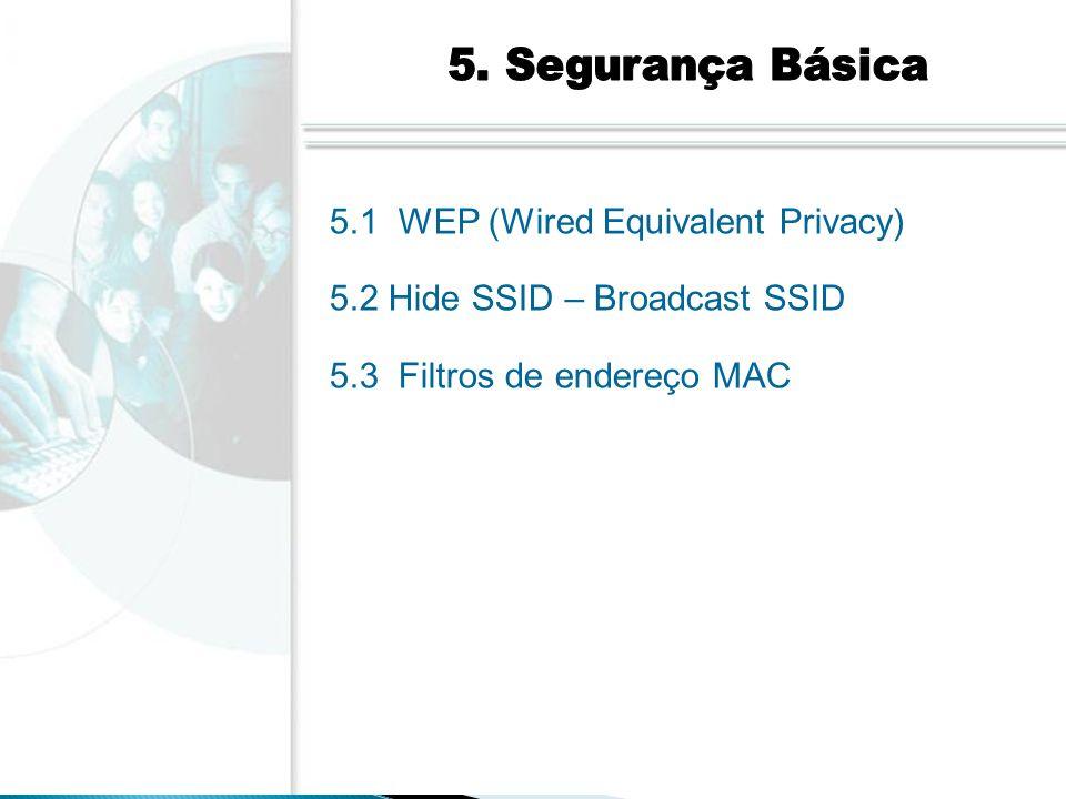 5.1 WEP (Wired Equivalent Privacy) 5.2 Hide SSID – Broadcast SSID 5.3 Filtros de endereço MAC