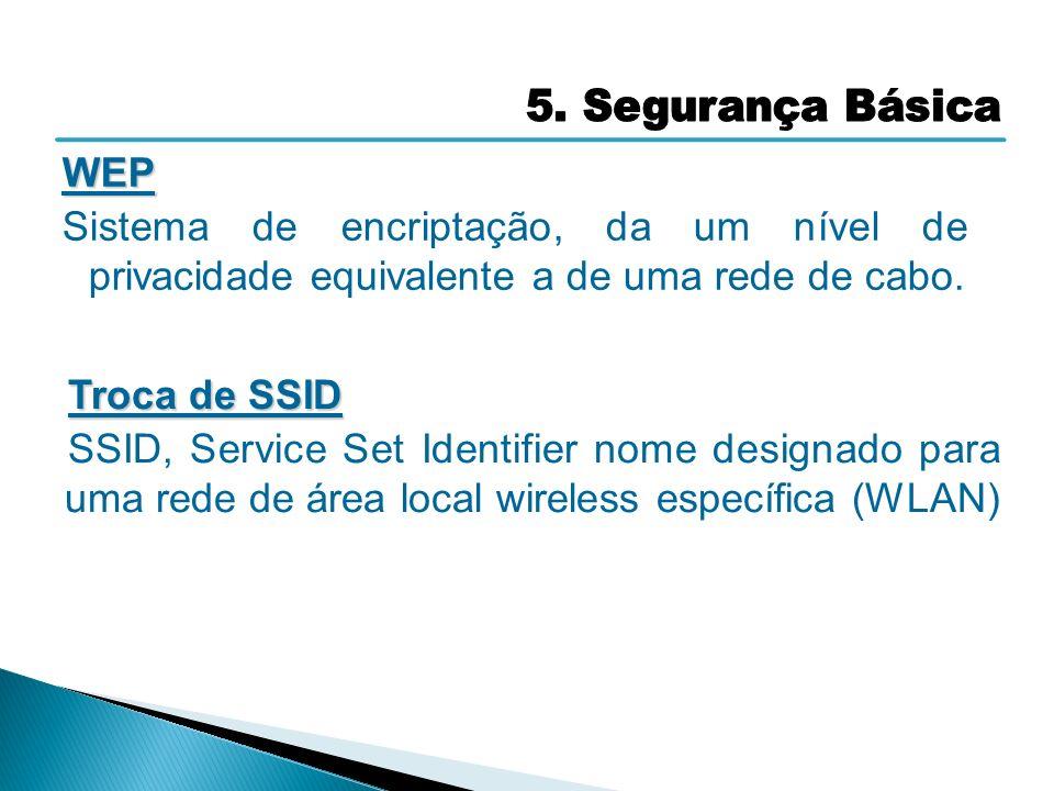WEP Sistema de encriptação, da um nível de privacidade equivalente a de uma rede de cabo. Troca de SSID SSID, Service Set Identifier nome designado pa