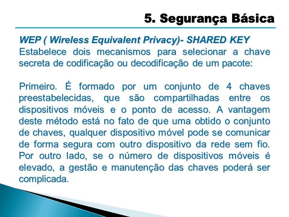 WEP ( Wireless Equivalent Privacy)- SHARED KEY Estabelece dois mecanismos para selecionar a chave secreta de codificação ou decodificação de um pacote