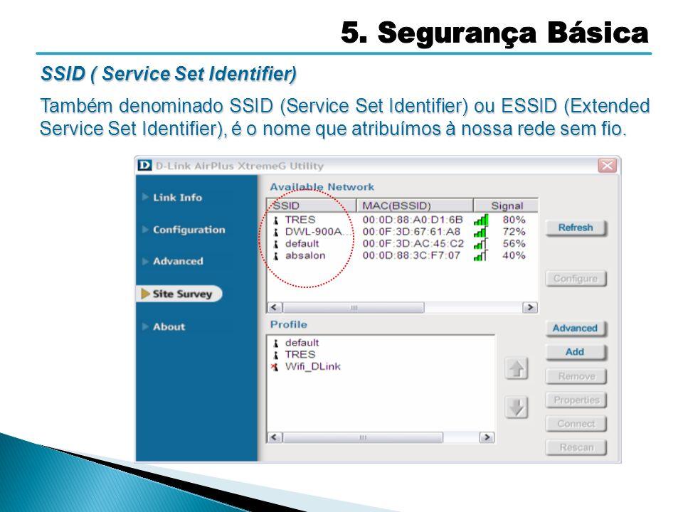 SSID ( Service Set Identifier) Também denominado SSID (Service Set Identifier) ou ESSID (Extended Service Set Identifier), é o nome que atribuímos à n