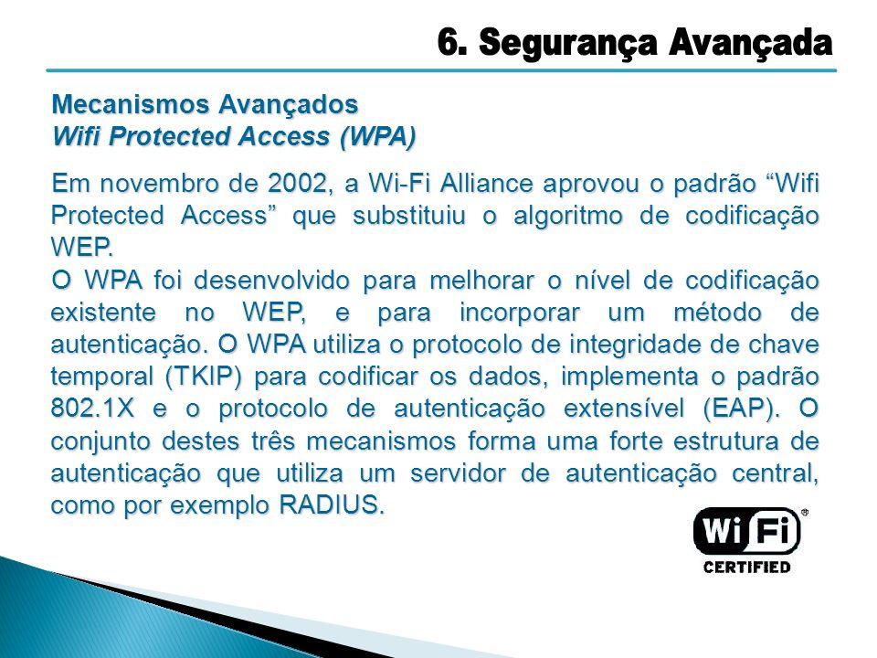 Mecanismos Avançados Wifi Protected Access (WPA) Em novembro de 2002, a Wi-Fi Alliance aprovou o padrão Wifi Protected Access que substituiu o algorit