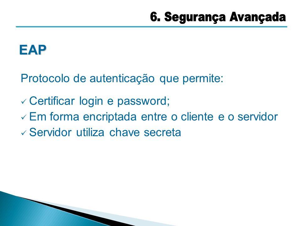 Protocolo de autenticação que permite: Certificar login e password; Em forma encriptada entre o cliente e o servidor Servidor utiliza chave secreta EA