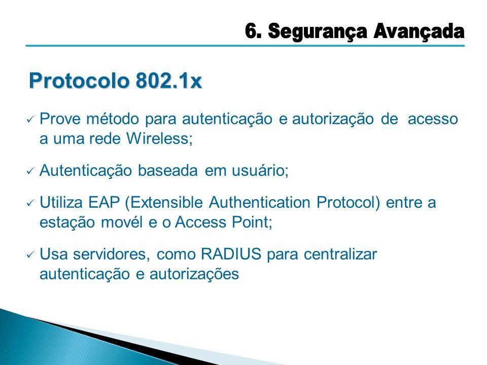 Prove método para autenticação e autorização de acesso a uma rede Wireless; Autenticação baseada em usuário; Utiliza EAP (Extensible Authentication Pr