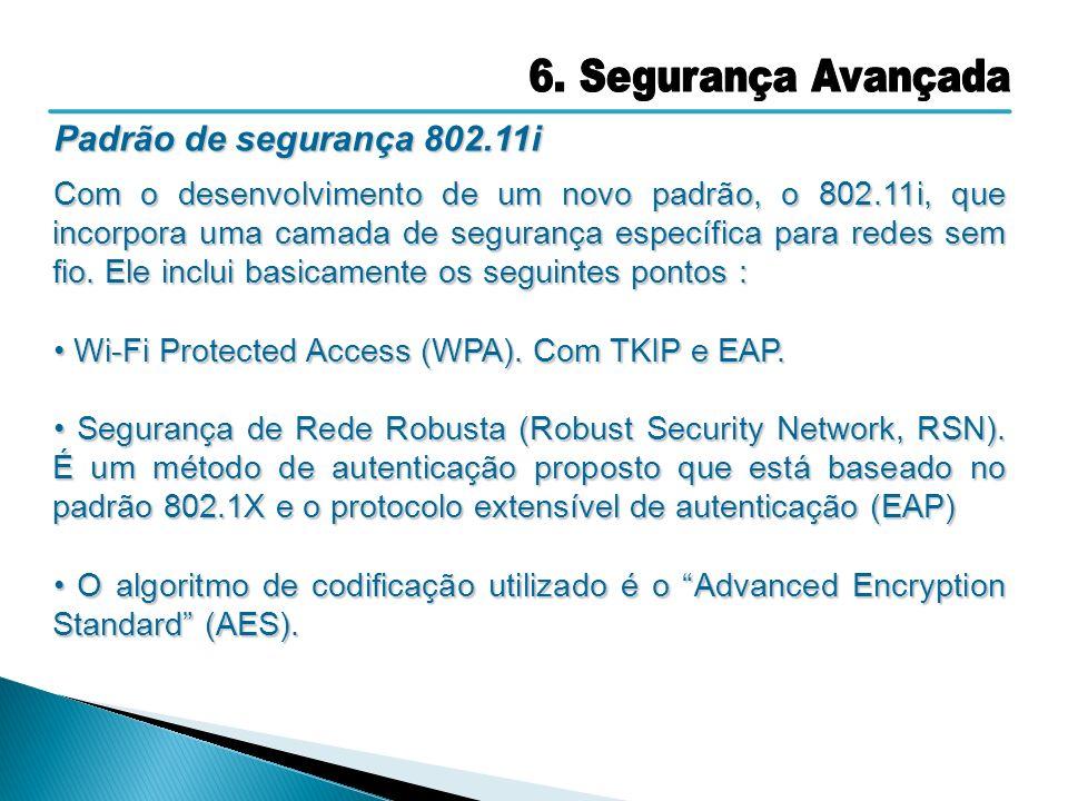 Padrão de segurança 802.11i Com o desenvolvimento de um novo padrão, o 802.11i, que incorpora uma camada de segurança específica para redes sem fio. E