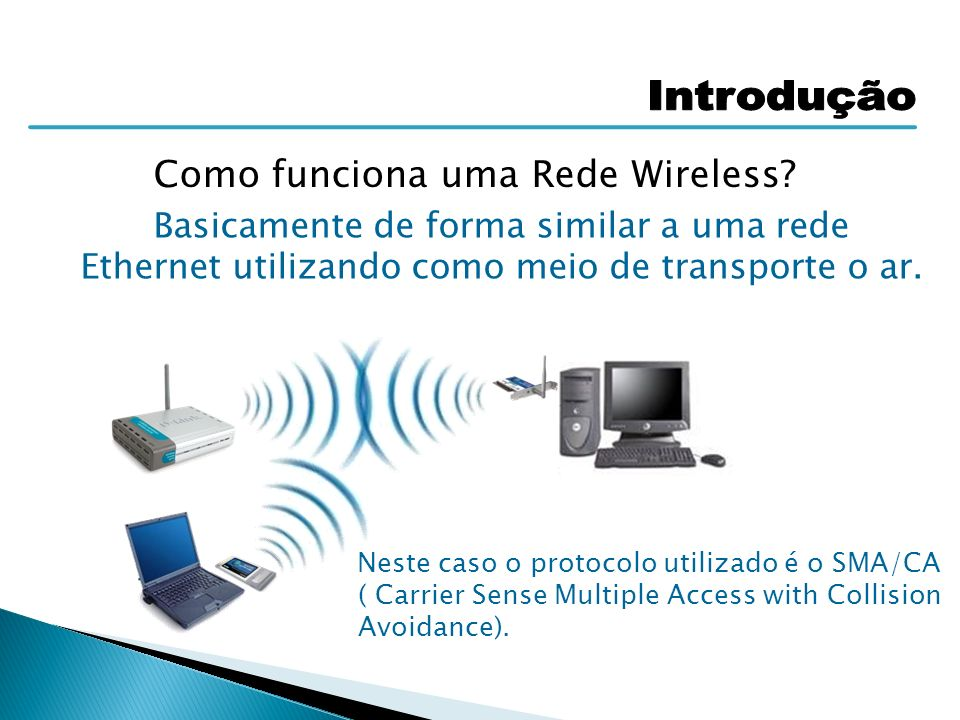 Neste caso o protocolo utilizado é o SMA/CA ( Carrier Sense Multiple Access with Collision Avoidance). Como funciona uma Rede Wireless? Basicamente de