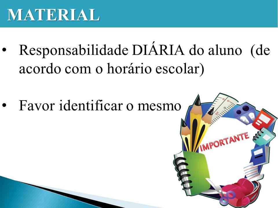 Responsabilidade DIÁRIA do aluno (de acordo com o horário escolar) Favor identificar o mesmo MATERIAL