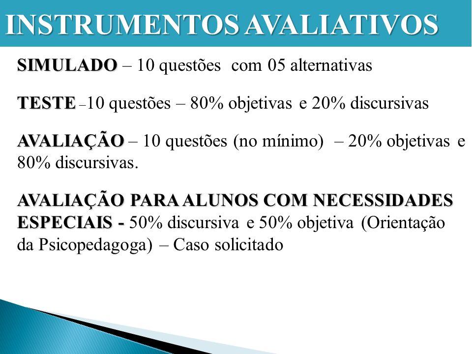 SIMULADO SIMULADO – 10 questões com 05 alternativas TESTE TESTE – 10 questões – 80% objetivas e 20% discursivas AVALIAÇÃO AVALIAÇÃO – 10 questões (no mínimo) – 20% objetivas e 80% discursivas.
