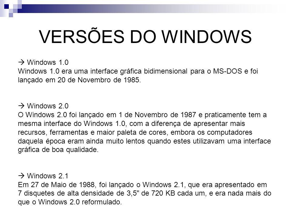 VERSÕES DO WINDOWS Windows 1.0 Windows 1.0 era uma interface gráfica bidimensional para o MS-DOS e foi lançado em 20 de Novembro de 1985. Windows 2.0