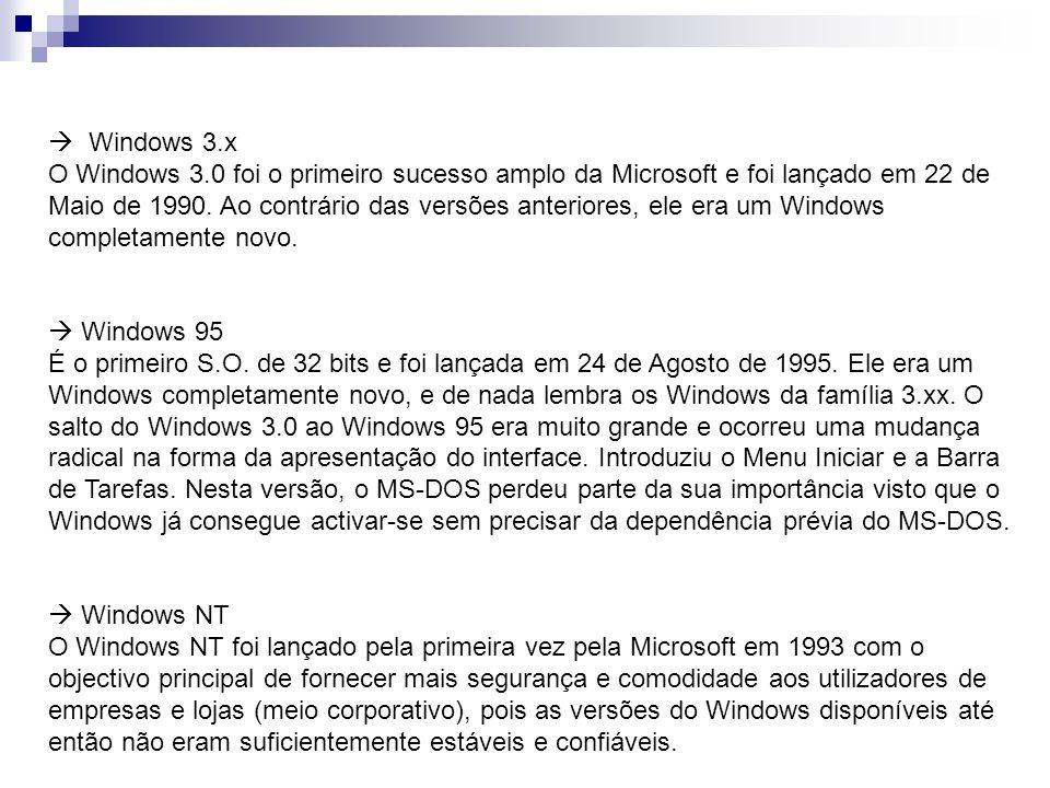 Windows 3.x O Windows 3.0 foi o primeiro sucesso amplo da Microsoft e foi lançado em 22 de Maio de 1990. Ao contrário das versões anteriores, ele era