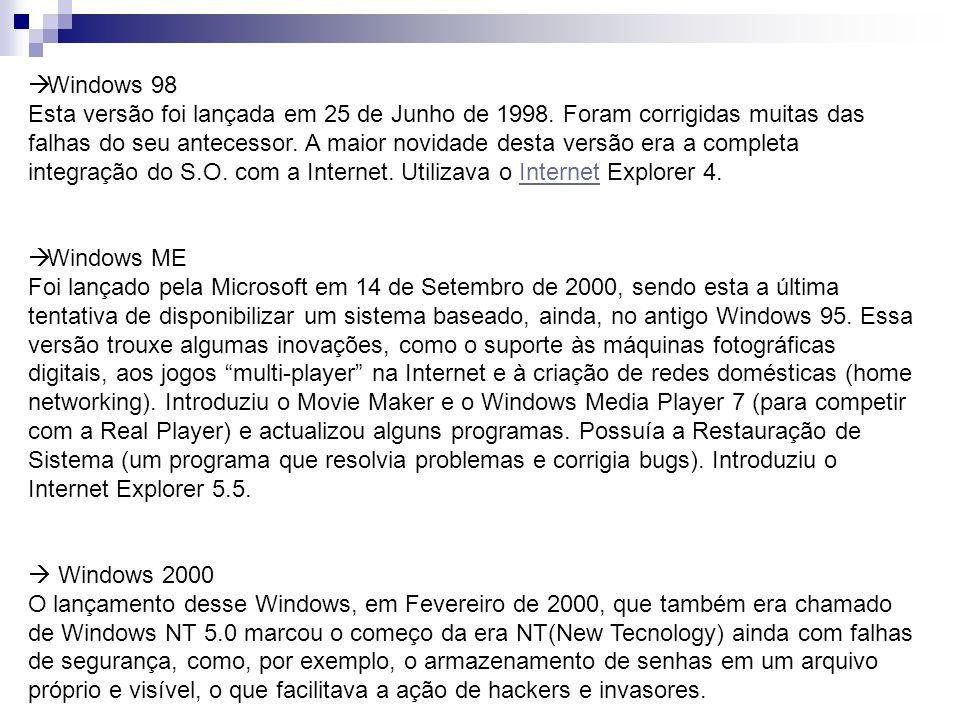 Windows 98 Esta versão foi lançada em 25 de Junho de 1998. Foram corrigidas muitas das falhas do seu antecessor. A maior novidade desta versão era a c