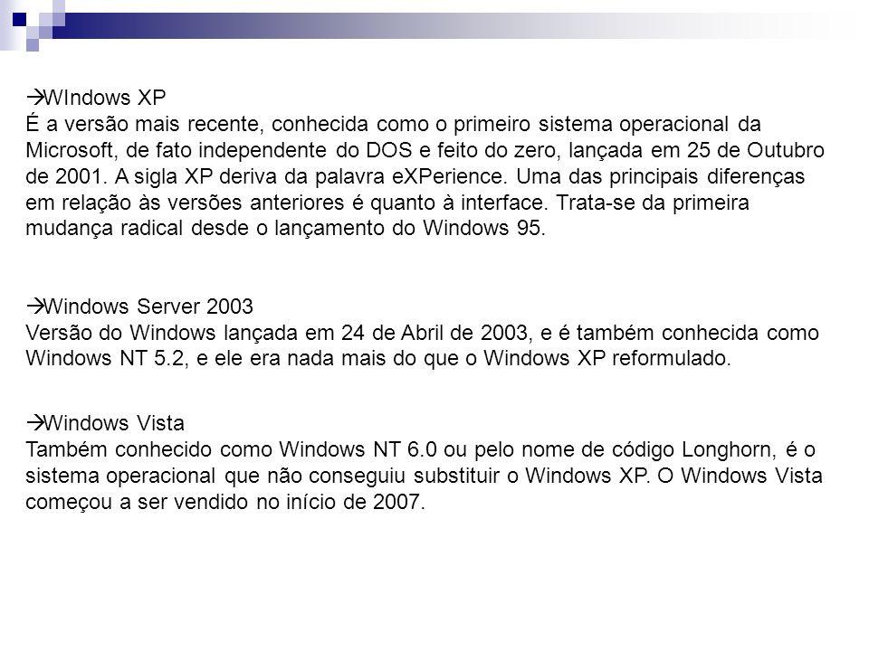 WIndows XP É a versão mais recente, conhecida como o primeiro sistema operacional da Microsoft, de fato independente do DOS e feito do zero, lançada e