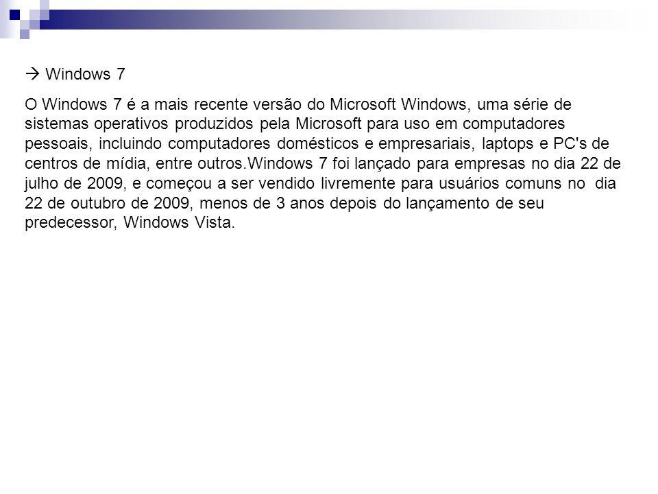 Windows 7 O Windows 7 é a mais recente versão do Microsoft Windows, uma série de sistemas operativos produzidos pela Microsoft para uso em computadore