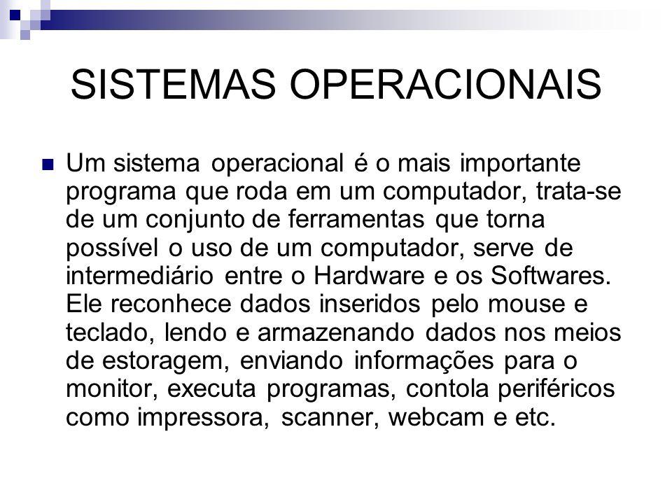 SISTEMAS OPERACIONAIS Um sistema operacional é o mais importante programa que roda em um computador, trata-se de um conjunto de ferramentas que torna