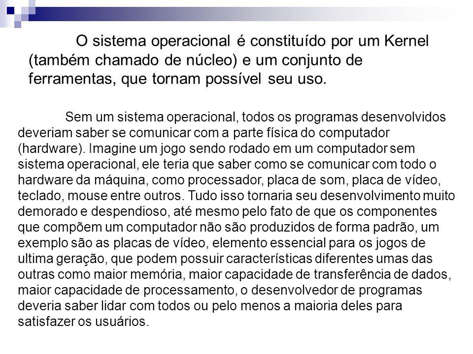 O sistema operacional é constituído por um Kernel (também chamado de núcleo) e um conjunto de ferramentas, que tornam possível seu uso. Sem um sistema
