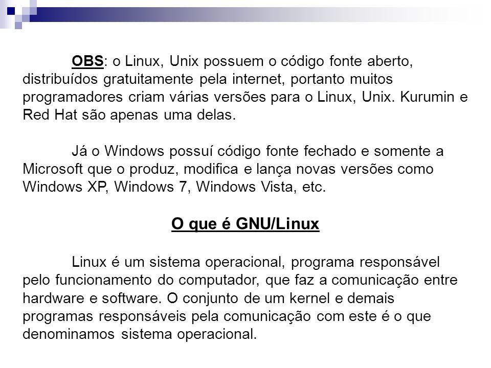 OBS: o Linux, Unix possuem o código fonte aberto, distribuídos gratuitamente pela internet, portanto muitos programadores criam várias versões para o