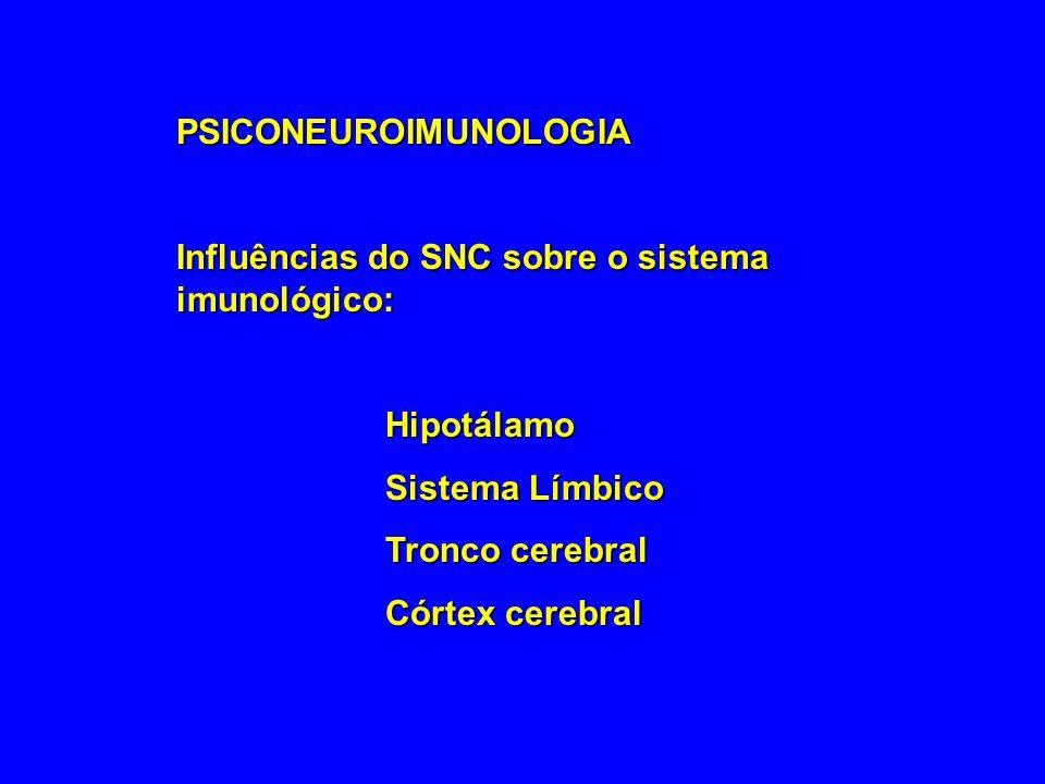 PSICONEUROIMUNOLOGIA Influências do SNC sobre o sistema imunológico: Hipotálamo Sistema Límbico Tronco cerebral Córtex cerebral