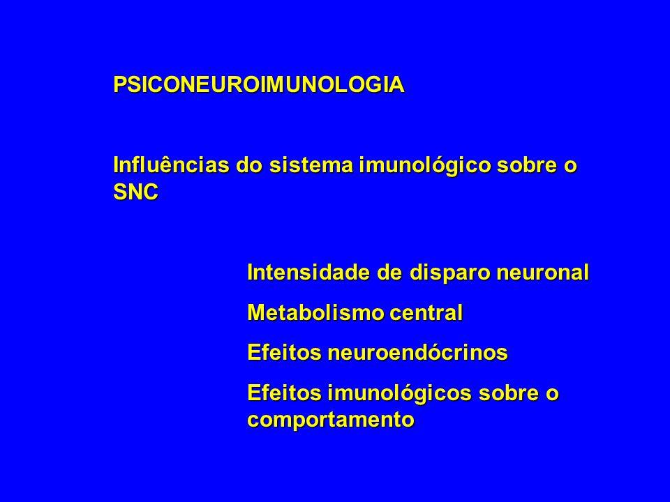 PSICONEUROIMUNOLOGIA Influências do sistema imunológico sobre o SNC Intensidade de disparo neuronal Metabolismo central Efeitos neuroendócrinos Efeito