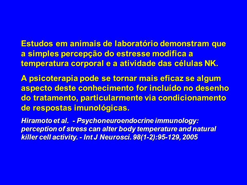 Estudos em animais de laboratório demonstram que a simples percepção do estresse modifica a temperatura corporal e a atividade das células NK. A psico