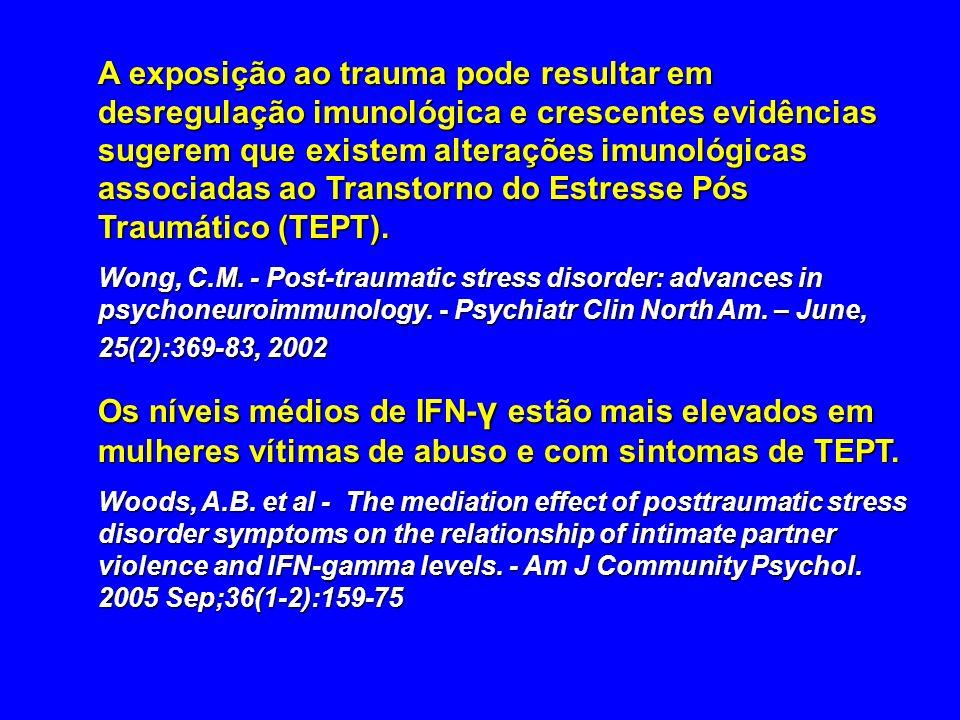 A exposição ao trauma pode resultar em desregulação imunológica e crescentes evidências sugerem que existem alterações imunológicas associadas ao Tran