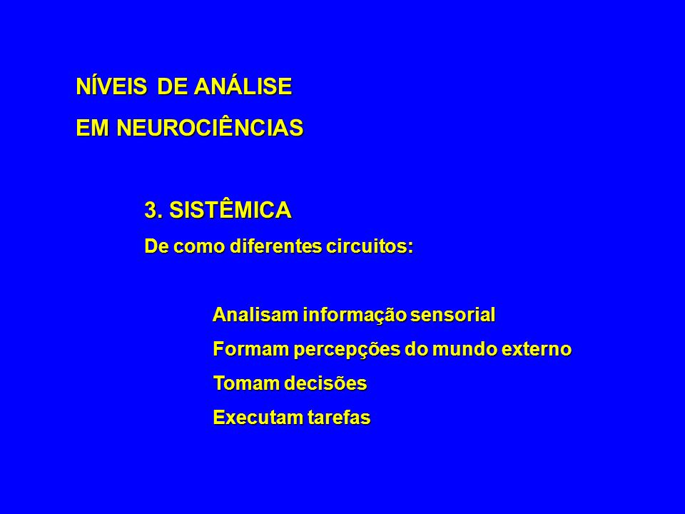 NÍVEIS DE ANÁLISE EM NEUROCIÊNCIAS 3. SISTÊMICA De como diferentes circuitos: Analisam informação sensorial Analisam informação sensorial Formam perce