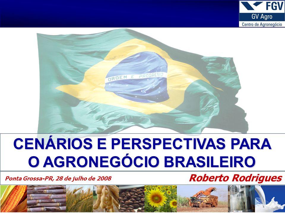 1 30/4/2014 CENÁRIOS E PERSPECTIVAS PARA O AGRONEGÓCIO BRASILEIRO Roberto Rodrigues Ponta Grossa-PR, 28 de julho de 2008