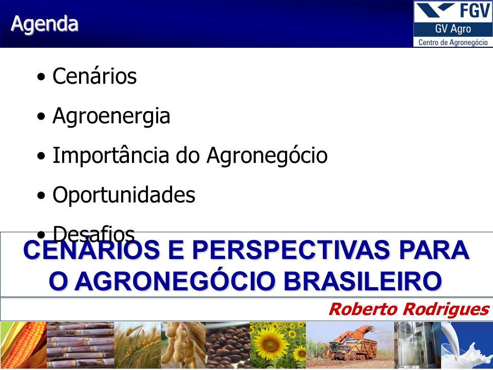 2 30/4/2014 CENÁRIOS E PERSPECTIVAS PARA O AGRONEGÓCIO BRASILEIRO Roberto Rodrigues Agenda Cenários Agroenergia Importância do Agronegócio Oportunidad
