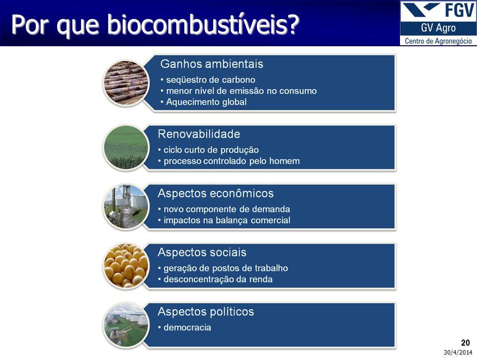 20 30/4/2014 Por que biocombustíveis?